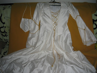 medieval silk white and gold wedding dress for sale