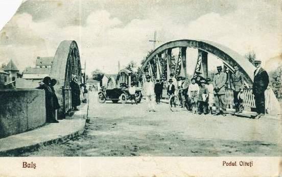Podul peste Olteţ al Balşului, la 1927...