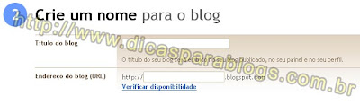 Nome e url do blog