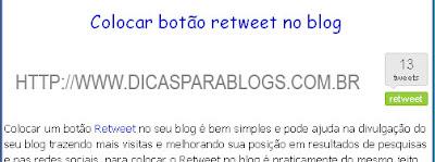 Colocar botão retweet no blog