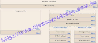 Pagina layout do Blogger
