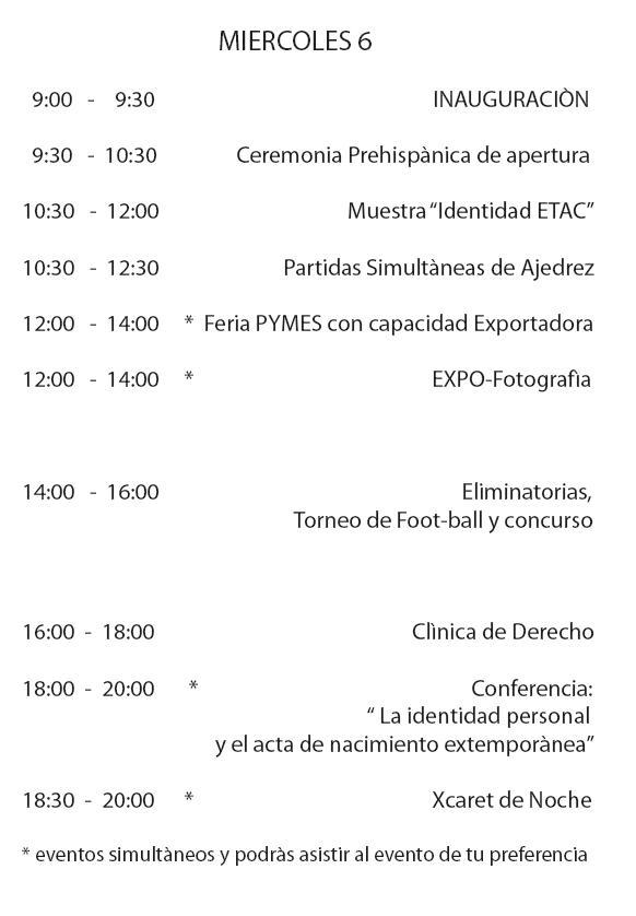 Programa Semana Academico Cultural por día