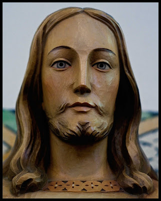 Wooden Carved Face of Jesus