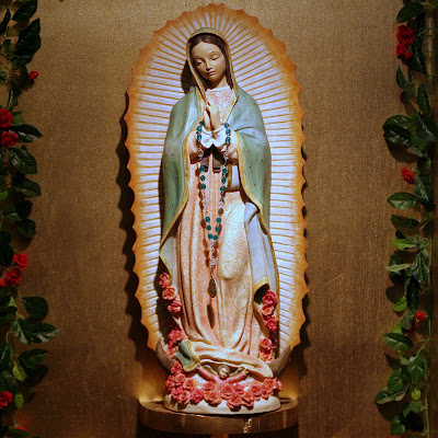 Close up of shrine of Our Lady of Guadalupe