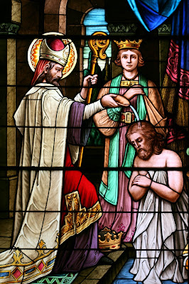 Stained glass window of St. Remy Baptizing King Clovis