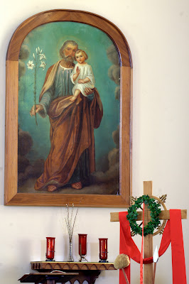 Painted portrait of Joseph and baby Jesus
