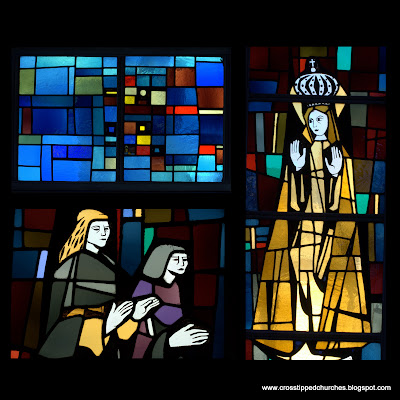 Modern stained glass window collage with La Salette bottom left and Our Lady of Fatima on the right.