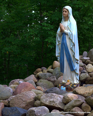 Outdoor statue of the Virgin Mary.