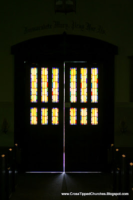 Stain Glass in entry/exit doors of the church.