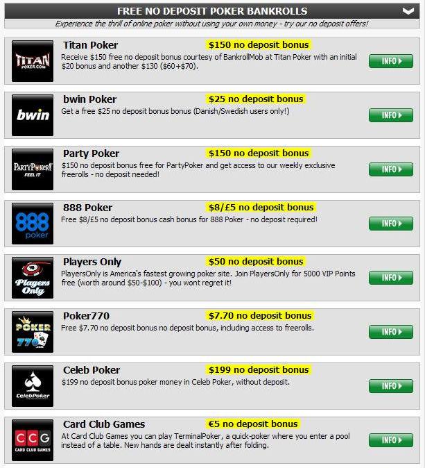 PokerStrategy - No deposit bankrolls - Online poker network