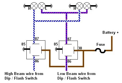 Wiring Relay Diagram on Sealed Beam Headlight Wiring Diagram