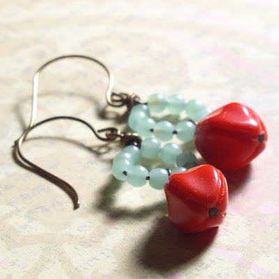 aqua blue red vintage czech glass pod dangle earrings