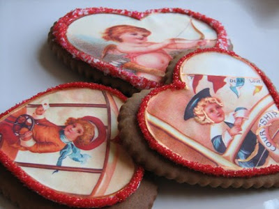vintage valentine sugar cookie hearts