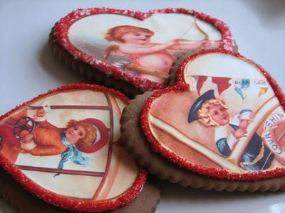 vintage valentine sugar cookie hearts