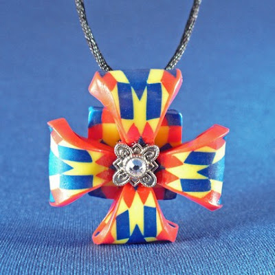 royal vibrant unique polymer clay cross