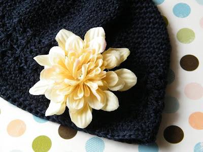 navy blue crochet girl toddler child flower beanie