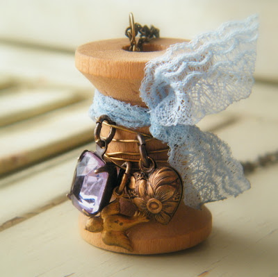 vintgae wooden spool jeweled necklace shabby chic jewelry