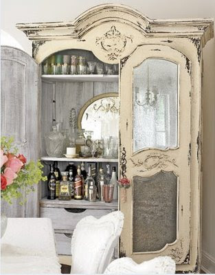 shabby chic french provenical wet bar armoir