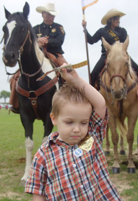 horse mounted police child