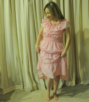 soft ruffled pink cotton mexican spanish sundress dress summer