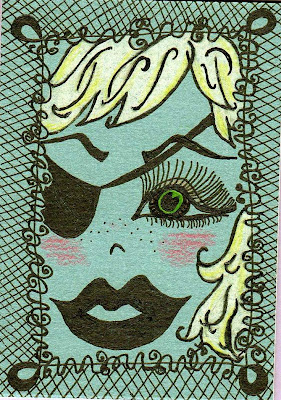 pirate girl ink art aceo eyepatch