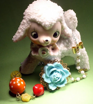 vintage style inspired colorful flower necklace vintage glass lamb