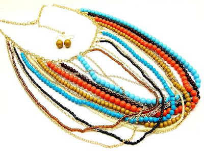aqua, turquoise, blue, orange, anthropologie, anthro, layered chain necklace, coral