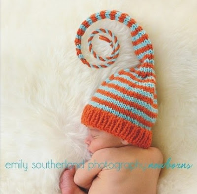 elfin elf baby newborn infant beanie hat orange aqua turquoise