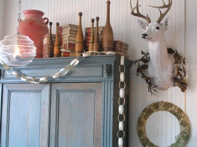 deer head armoir paper chain garland