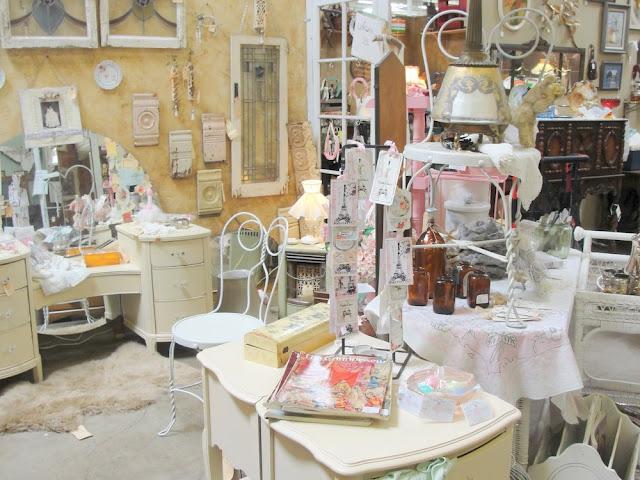 vintage vanity shabby chic pink white