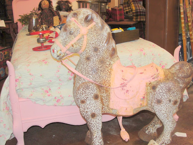 pink bed, painted, shabby chic, rocking horse, pony, vintage, antique
