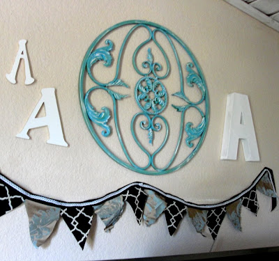 white wood letters A decoration turquoise aqua round iron scroll