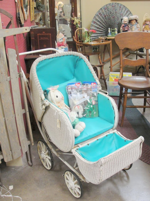 white wicker, blue lining, aqua, turquoise, baby buggy, carriage, vintage