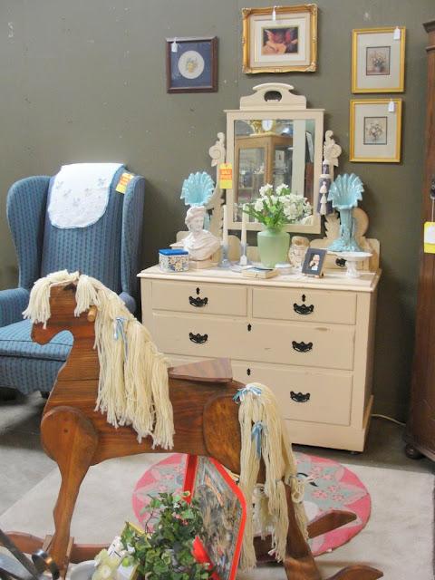 rocking horse, vintage, creame vintage dresser, vanity