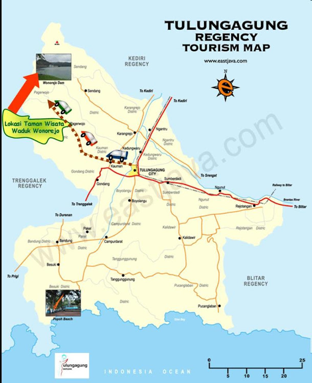 Peta Lokasi Taman Wisata Waduk Wonorejo