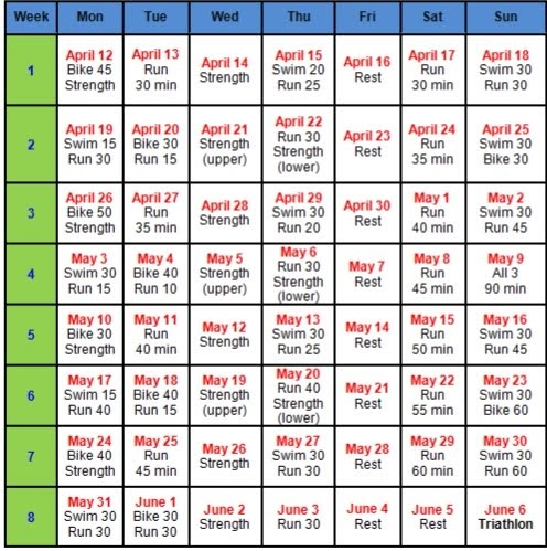 triathlon training calendar template - funny things in fluffy clouds training schedule