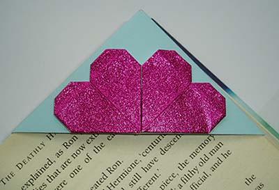origami corner bookmark fuchsia