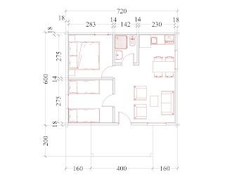 Progetti di case in legno casetta 43 mq portico 8 mq for Progetti di portico anteriore