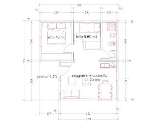 Progetti di case in legno casetta 49 mq portico 14 mq for Casetta con avvolgente portico