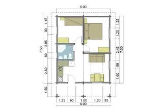 Progetti di case in legno casetta 45 mq terrazza coperta 9 mq - Progetto casa 40 mq ...