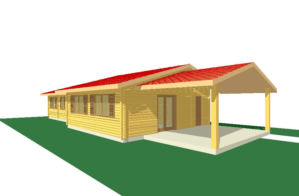 Progetti di case in legno casa 130 mq portico 26 mq for Progetti di piani portico proiettati