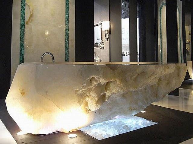 Bathroom Design Unique Crystals Stone Bathtub By Italian