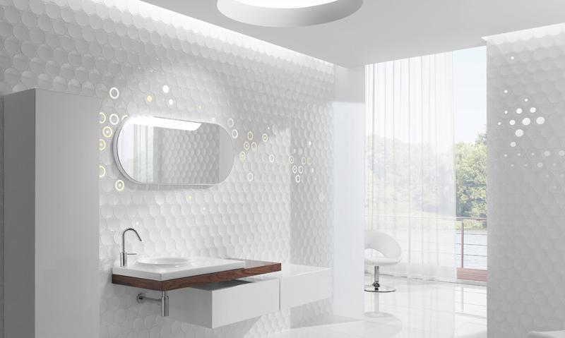 in bathroom design: futuristic bathroom wall - cube & dotkale