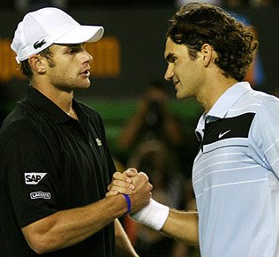 Andy Roddick and Roger Federer
