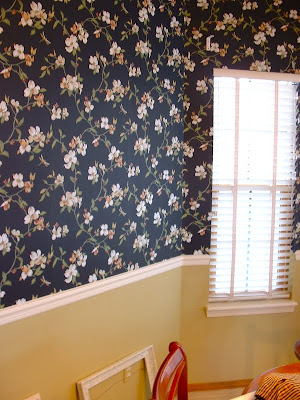 This dogwood pattern is lovely! Break up the room and place it on the top third of the wall rather than