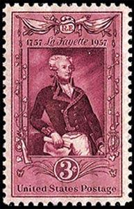 Sello del Bicentenario del nacimiento de Lafayette