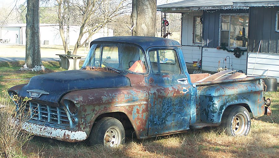 1955 Chevrolet 3100 pick-up truck, for sale in the rearview