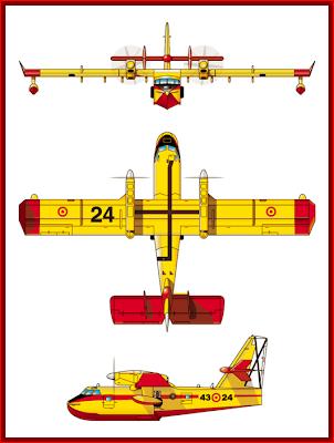 Perfil, planta y alzado del hidroavión Canadair cl215T del 43 Grupo