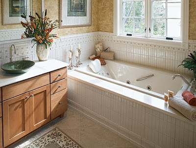 traditional elegant bathroom with bathroom vanity, storehouse and bathtub
