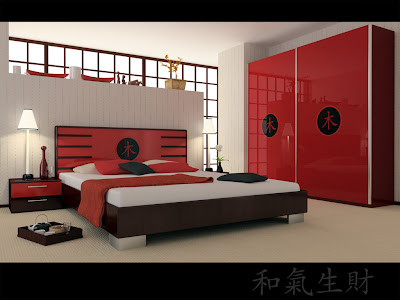 Asian Style Bedroom with Black and Red